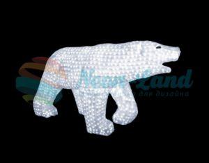 """Акриловая светодиодная фигура """"Белый медведь"""" 100х175см"""