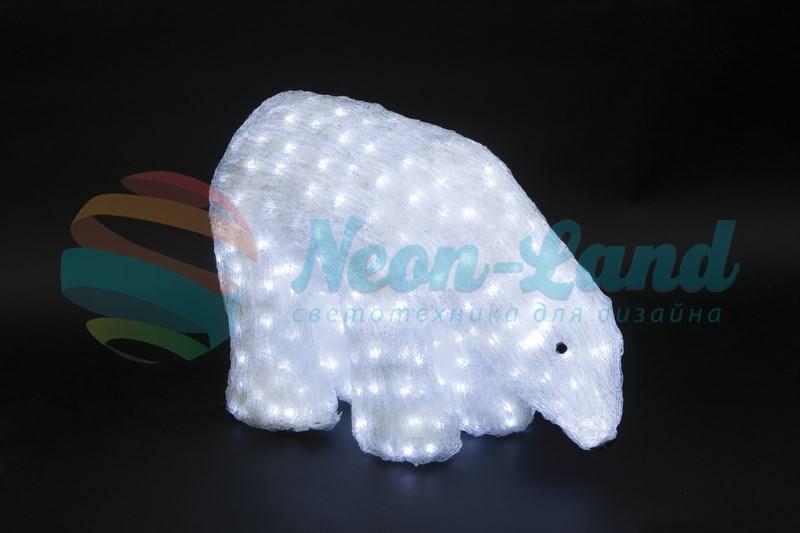 """Акриловая светодиодная фигура """"Белый медведь"""" 40см"""