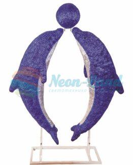 """Акриловая светодиодная фигура """"Дельфины в тандеме"""" 150х130см"""