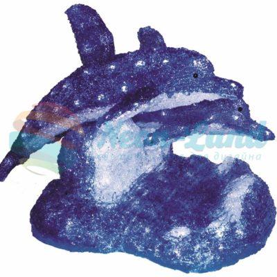 """Акриловая светодиодная фигура """"Синие дельфины"""" 65х48х48 см"""