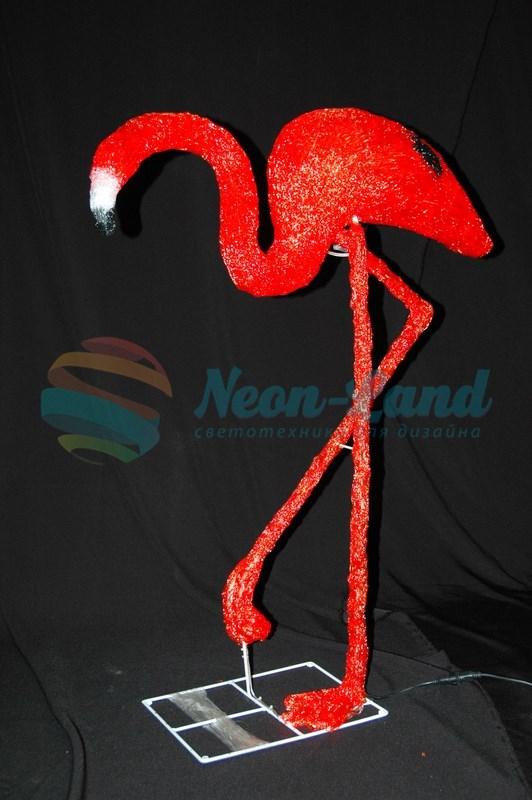 """Акриловая светодиодная фигура """"Фламинго"""" 95см"""
