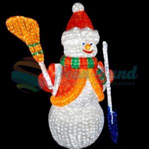 """Акриловая светодиодная фигура """"Снеговик с лопатой и метлой"""" 160см"""