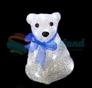 """Акриловая светодиодная фигура """"Белый мишка"""" 20 см"""