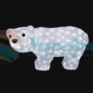 """Акриловая светодиодная фигура """"Белый мишка"""" 15х25 см"""