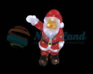 """Акриловая светодиодная фигура """"Санта Клаус приветствует"""" 30 см"""