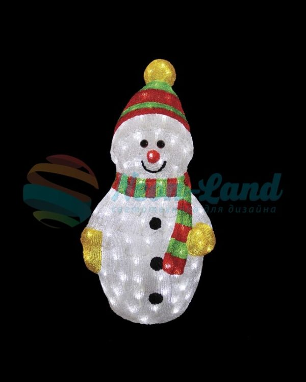 """Акриловая светодиодная фигура """"Снеговик с шарфом"""" 60 см"""