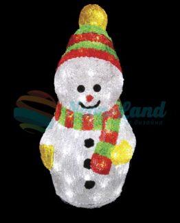 """Акриловая светодиодная фигура """"Снеговик с шарфом"""" 30 см"""