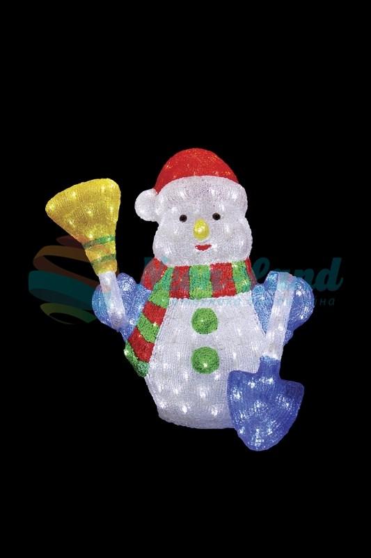 """Акриловая светодиодная фигура """"Снеговик с метлой и лопатой"""" 60 см"""