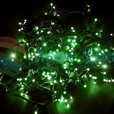 """Гирлянда модульная  """"Дюраплей LED""""  20м  200 LED  черный каучук Зеленая"""