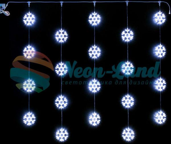 Светодиодный узорный занавес Rich LED Снежинки 2х2 м