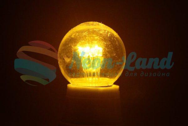 Лампа шар e27 6 LED  Ø45мм - желтая