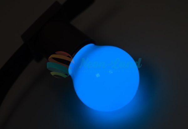 Лампа шар e27 3 LED  Ø45мм - синяя