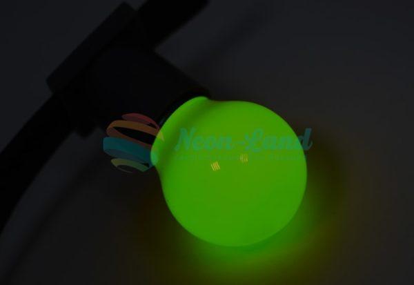 Лампа шар e27 5 LED  Ø45мм - зеленая