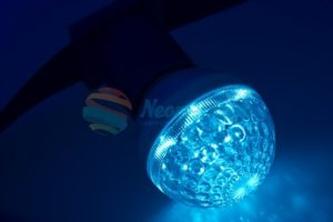 Лампа шар e27 10 LED  Ø50мм  синяя 24В