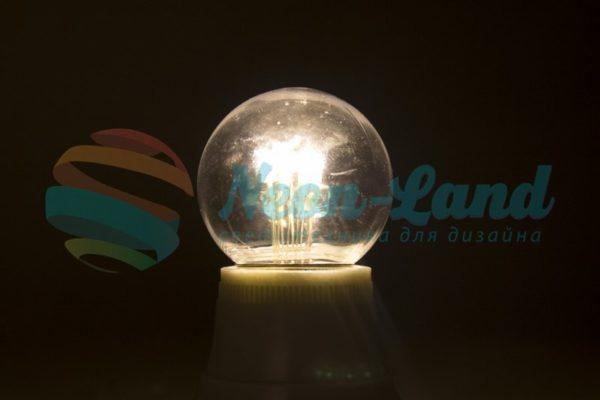 Лампа шар e27 6 LED  Ø45мм - ТЕПЛЫЙ БЕЛЫЙ