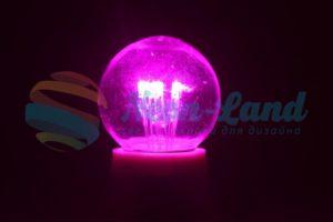 Лампа шар e27 6 LED  Ø45мм - розовая