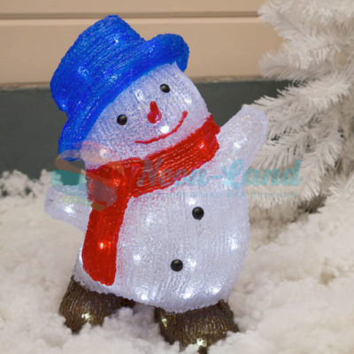 """Фигура акрил. """"Снеговик в шляпке большой"""" 21х30х40 см"""