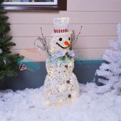 "Фигура акрил. ""Снеговик белый"" 48х25х82 см"