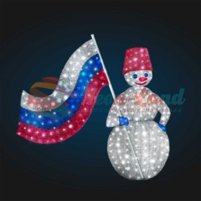 Новогодняя композиция Снеговик с флагом (в мишуре)
