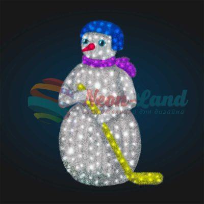 Светодиодный Снеговик Хоккеист 2