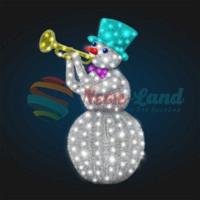 Светодиодный Снеговик Трубач 2