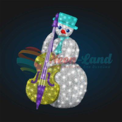 Светодиодный Снеговик Контрабасист 2