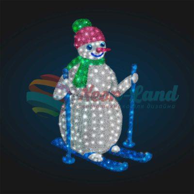 Светодиодный Снеговик Лыжник 2