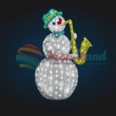 Светодиодный Снеговик Саксофонист 2