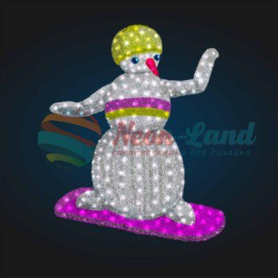 Светодиодный Снеговик Сноубордист 2