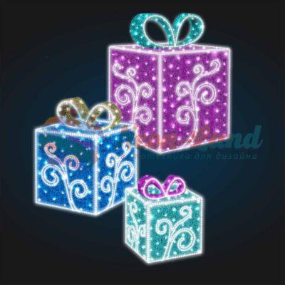 Световая композиция Новогодние Подарки из мишуры с Узором ( 75 см