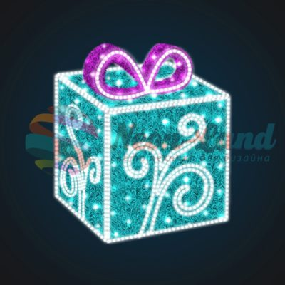 Световая композиция Новогодний Подарок с Узором 75 см