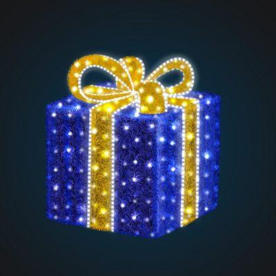 Световая композиция Новогодний Подарок 100 см (с мишурой и гирляндой)