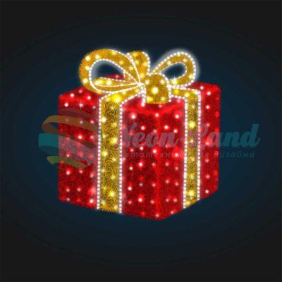 Световая композиция Новогодний Подарок 200 см (с мишурой и гирляндой)