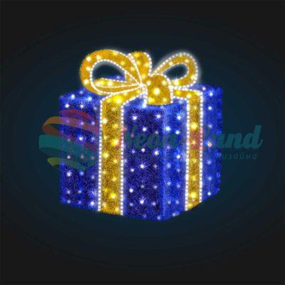 Световая композиция Новогодний Подарок 50 см (с мишурой и гирляндой)