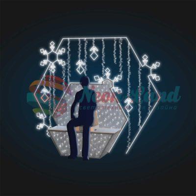 Фотозона светящаяся скамейка со снежинками