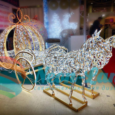 Композиция «Карета  принцессы и два коня»